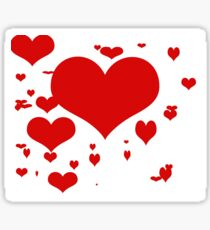 Red hearts for love pattern  Sticker