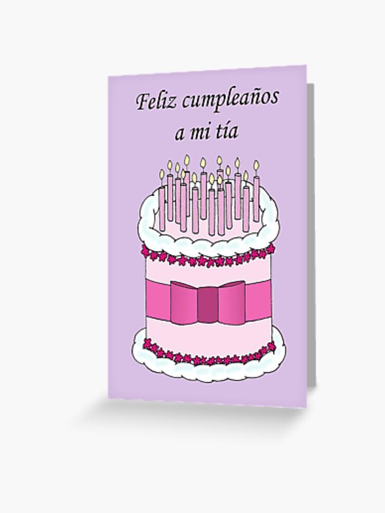 Carte De Vœux Joyeux Anniversaire Tante En Gateau Espagnol Et Bougies Par Katetaylor Redbubble