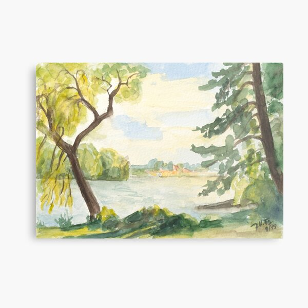sunny late summer day at the lake Metal Print