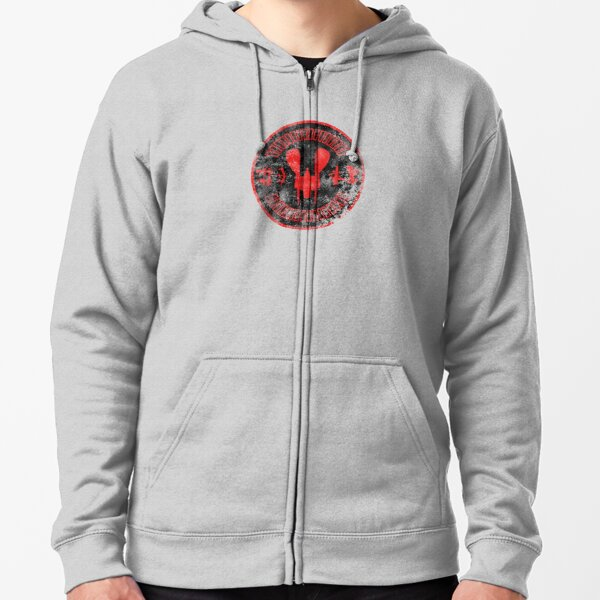 """TOMKORIA CLASS STARSHIP — """"WORKHORSE OF THE GALAXY"""" (DISTRESSED) Zipped Hoodie"""
