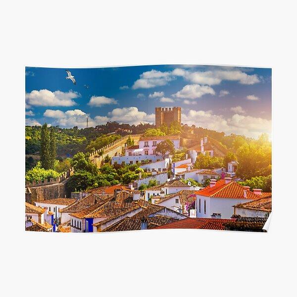 Schöne Aussicht auf die mittelalterliche Stadt Obidos, Portugal. Poster