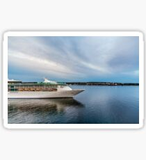 Cruise Ship Sailing at Dusk Sticker