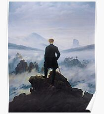 Man in a sea of fog Antique German painting Poster