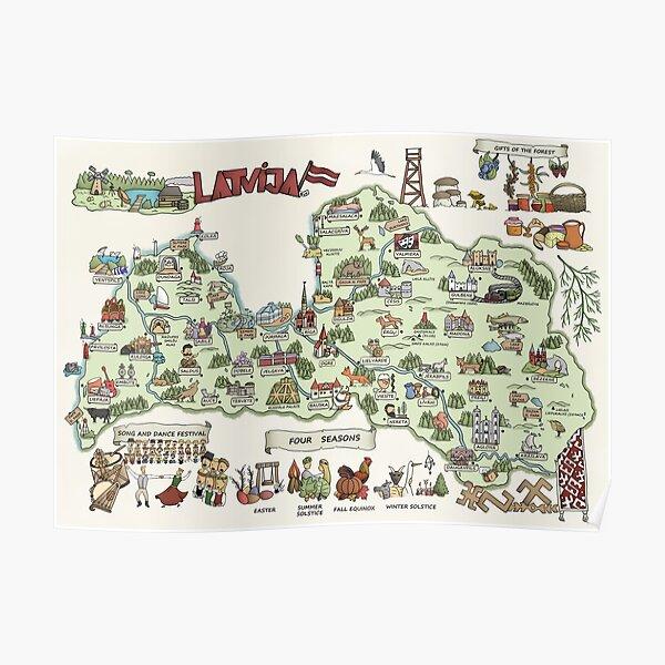 Map of Latvia (English version) Poster