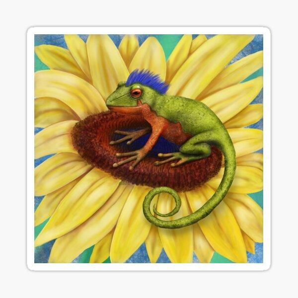 Mohawk Frog on Sunflower Sticker
