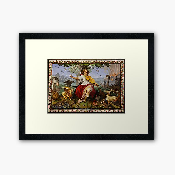 ORPHEUS ENCHANTING ANIMALS WITH HIS MUSIC Baroque Mosaic Framed Art Print