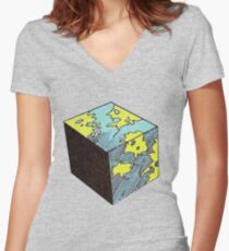 Flat Earth Theorem Women's Fitted V-Neck T-Shirt