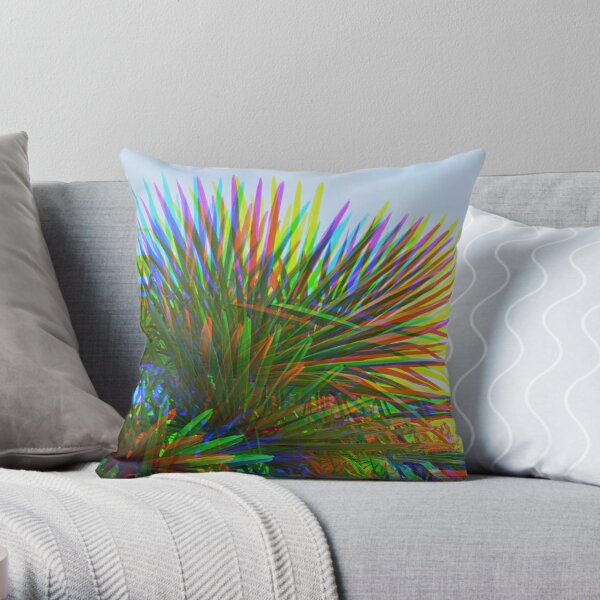 Rainbow Psychedelic Palm Tree Leaves Throw Pillow