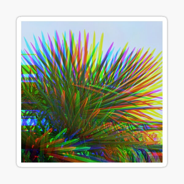 Rainbow Psychedelic Palm Tree Leaves Sticker