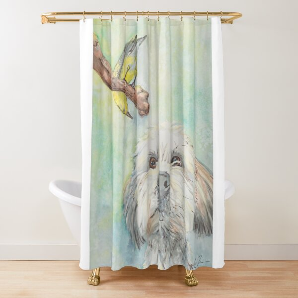The Pup and the Bird Watercolor Shower Curtain