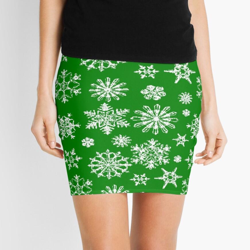 Green Snowflake Mini Skirt