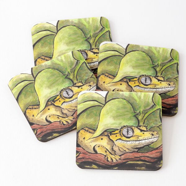 Grinning Gecko Coasters (Set of 4)