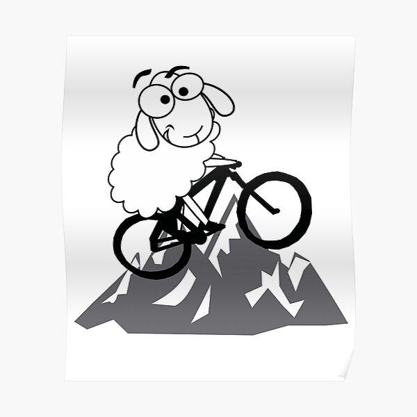 funny mountain biking sheep mountains cycling MTB gifts sheep Poster