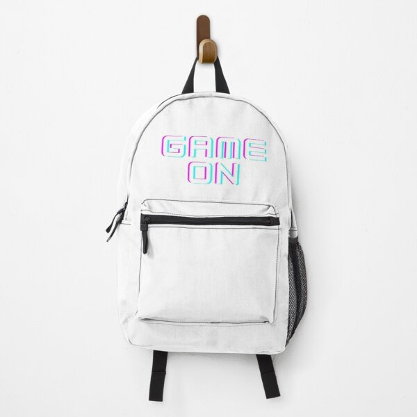 game on text colored blue and magenta and purple  Backpack
