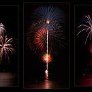 Fireworks triptych by Celeste Mookherjee
