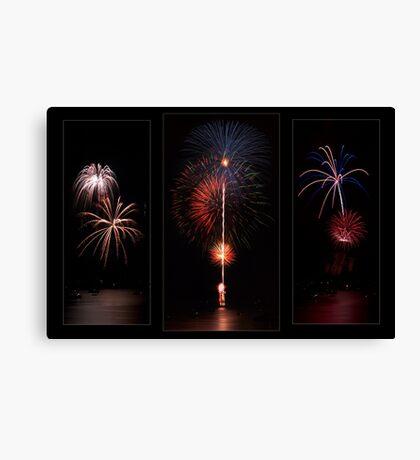 Fireworks triptych Canvas Print