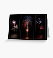 Fireworks triptych Greeting Card