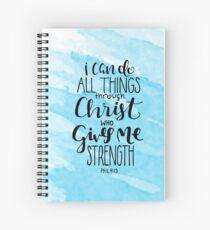 Cuaderno de espiral Puedo hacer todas las cosas a través de Cristo que me da fortaleza