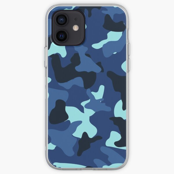 Blue marine army camo camouflage pattern iPhone Soft Case