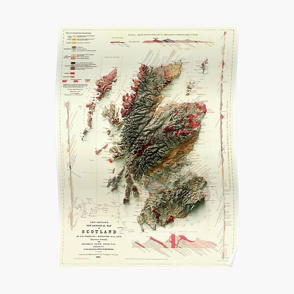 1865 3D Scotland Geological Map digitally-rendered Poster