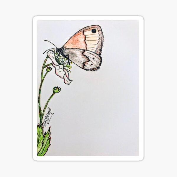 Butterfly on Blackberry Flower Sticker