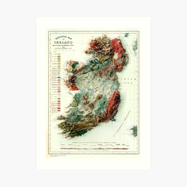 1926 Geological map of Ireland 3D digitally-rendered Art Print
