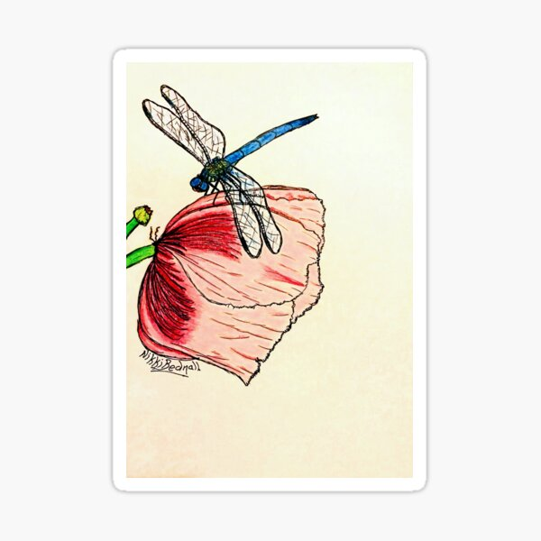 Dragonfly on Pink Flower Sticker