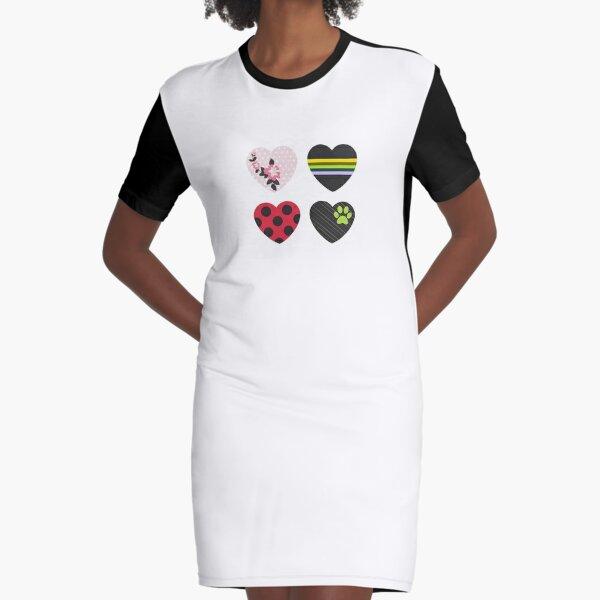 Liebe quadratische Herzen T-Shirt Kleid