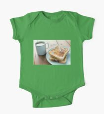 Tea and Toast on Wooden Table One Piece - Short Sleeve
