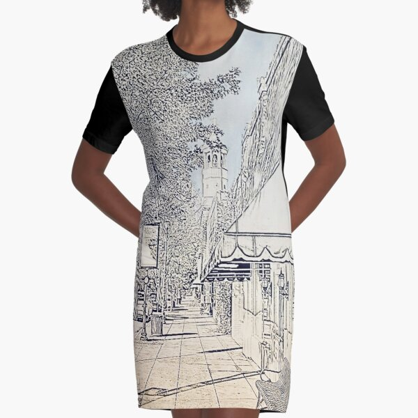 Broad Street, Camden SC Blue Sky Graphic T-Shirt Dress