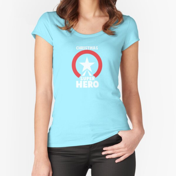 Christmas Super Hero Fitted Scoop T-Shirt