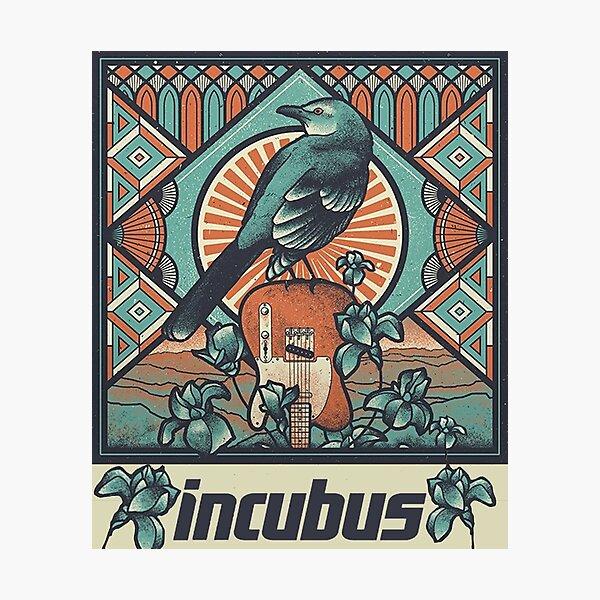 Incubus - ilustración original, gráfico de cartel musical, pájaro y flores. Estética de estilo vintage. Lámina fotográfica