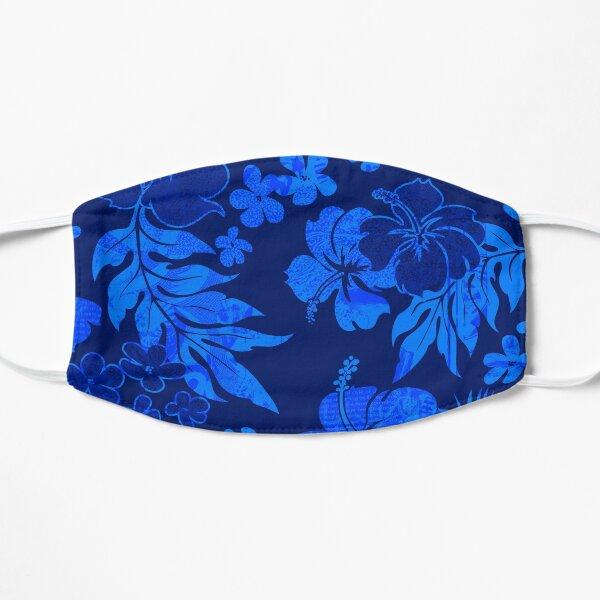Kona Times Hibiscus Hawaiian Print - Royal Flat Mask