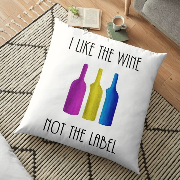 I Like the Wine, Not the Label - Pansexual Flag Wine Bottles, David Rose Quote, Schitts Creek - Acrylic Painting Fan Art Floor Pillow