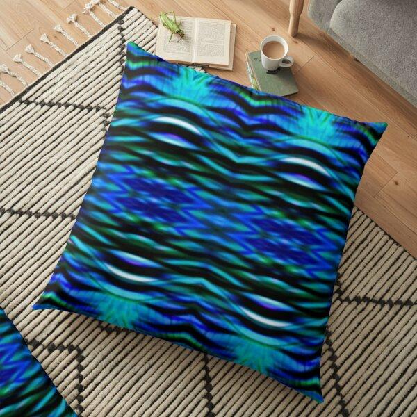 Blue Green Prism Interwoven Spectral Floor Pillow
