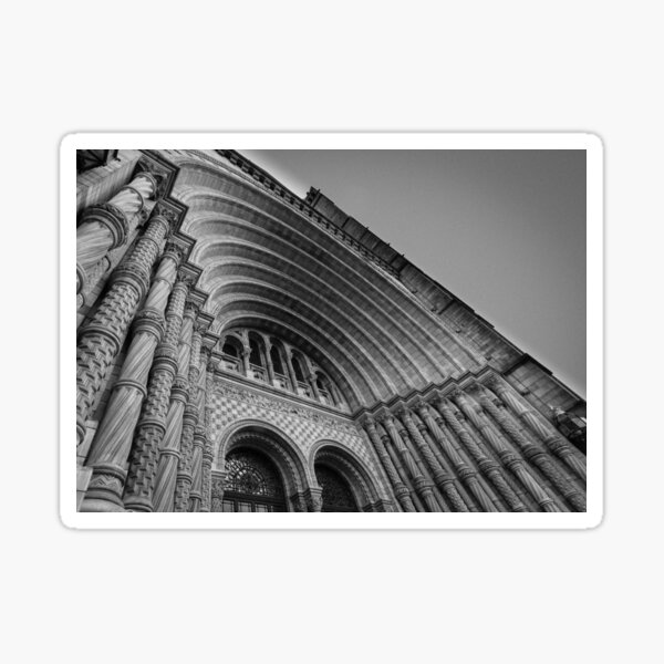 Museum entrance in black and white. Sticker