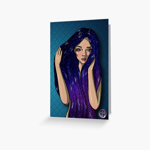 Galaxy Hair Girl Greeting Card