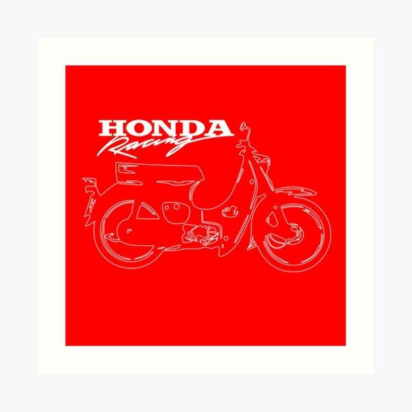 Super Cub 50 Rapid & Nifty Honda Moped Racing Red Art Print