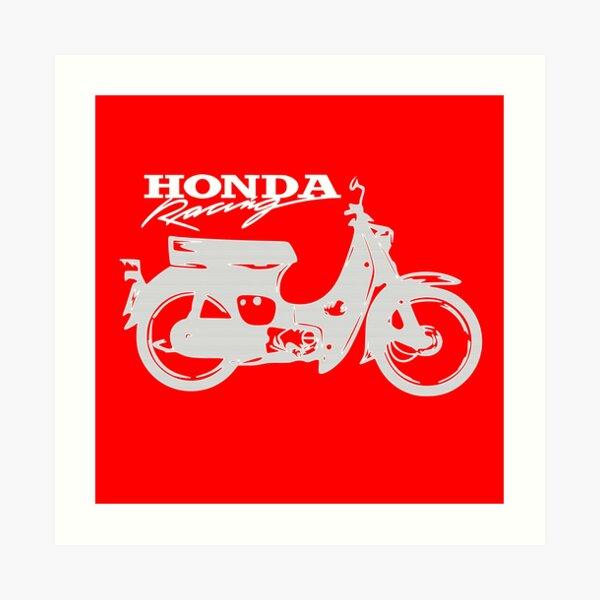 Super Cub 50 Rapid & Nifty Honda Moped Racing Silver Art Print