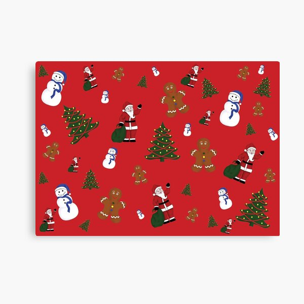Christmas Goodies On Red Background Canvas Print