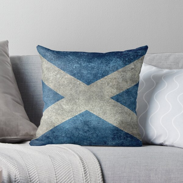 Flag of Scotland - Grungy Vintage version Throw Pillow