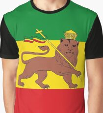 Custom Rastafarian Flag of Ethiopia Lion of Judah Graphic T-Shirt