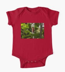 Red Ginger Flower, Framed in Lush Jungle Green One Piece - Short Sleeve