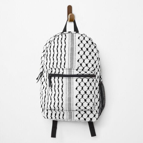 Palestinian Hatta Kufiya Folk Pattern #2-Black, Palestine Arabic Traditional Keffiyeh Design Backpack