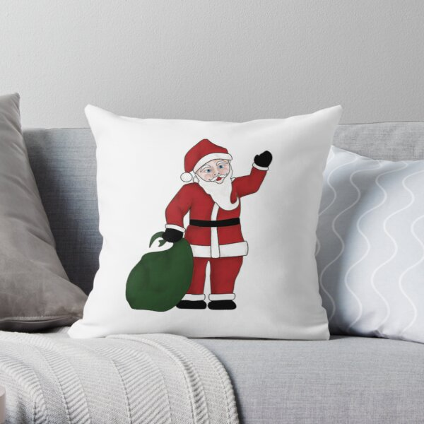Santa Clause With Gift Sack Throw Pillow