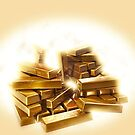 A stack of shining gold bullion  by PhotoStock-Isra