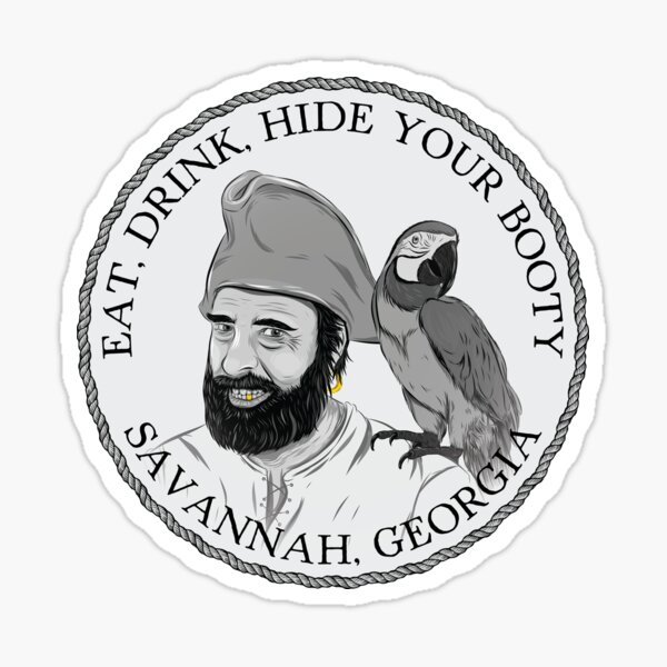 Pirate and Parrot - Eat, Drink, Hide Your Booty Sticker