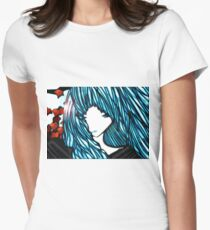 Blue Hair Fall Day Women's Fitted T-Shirt