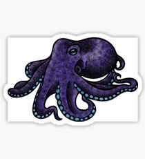 Green and Purple Octopus Pattern Sticker