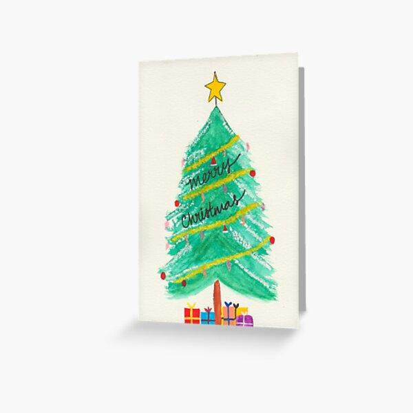 Illustrated Christmas tree design Greeting Card